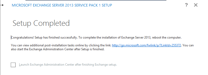 Exchange 2013 Setup Complete