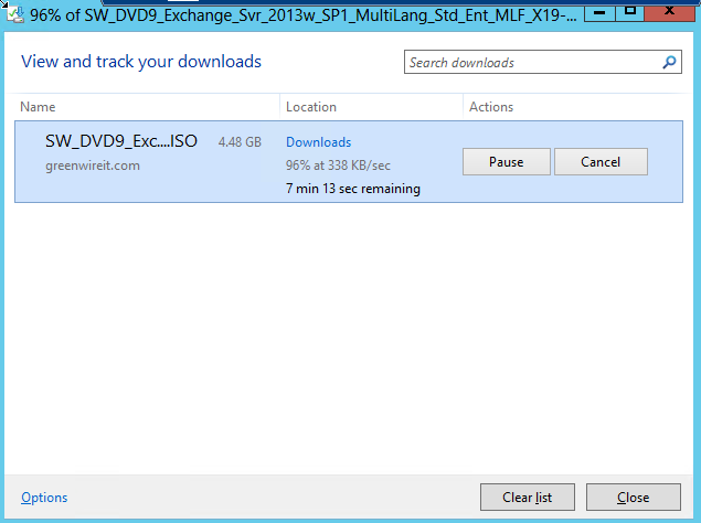 Downloading Exchange 2013 ISO